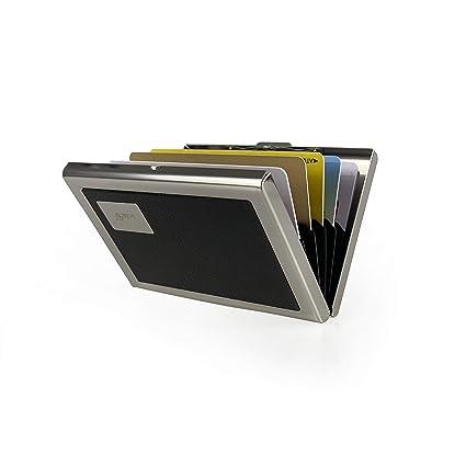 sciuU Cartera Tarjeta de Crédito, Bloqueo RFID, Cartera Acero Inoxidable, Tarjetero para Tarjetas de Crédito, con 6 Ranuras para Tarjetas - Acero ...