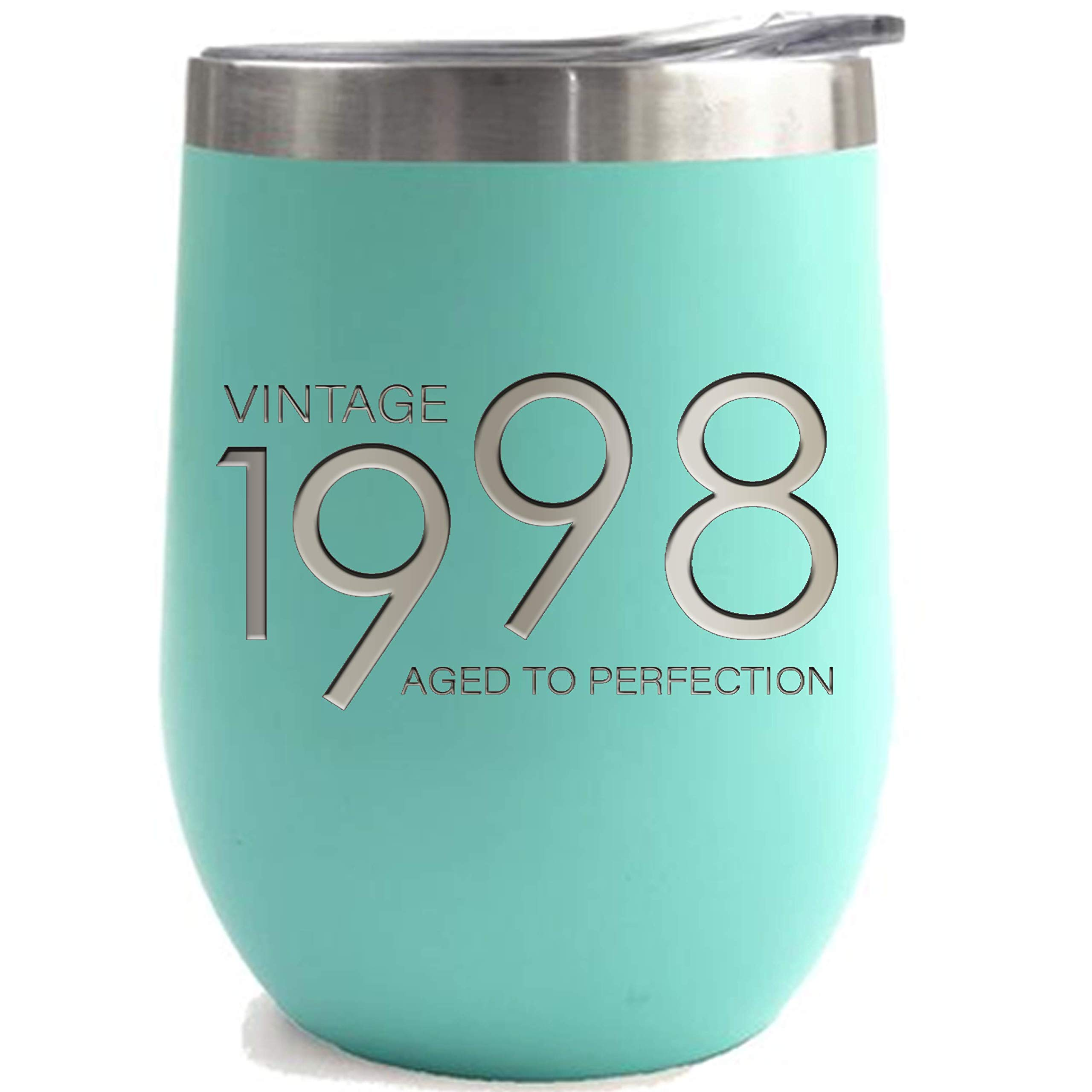 1998 21st Birthday Gifts for Women and Men Mint 12 oz Insulated Stainless Steel Tumbler | 21 Year Old Presents | Mom Dad Wife Husband Present | Party Decorations Supplies Anniversary Tumblers Gift th by Sodilly