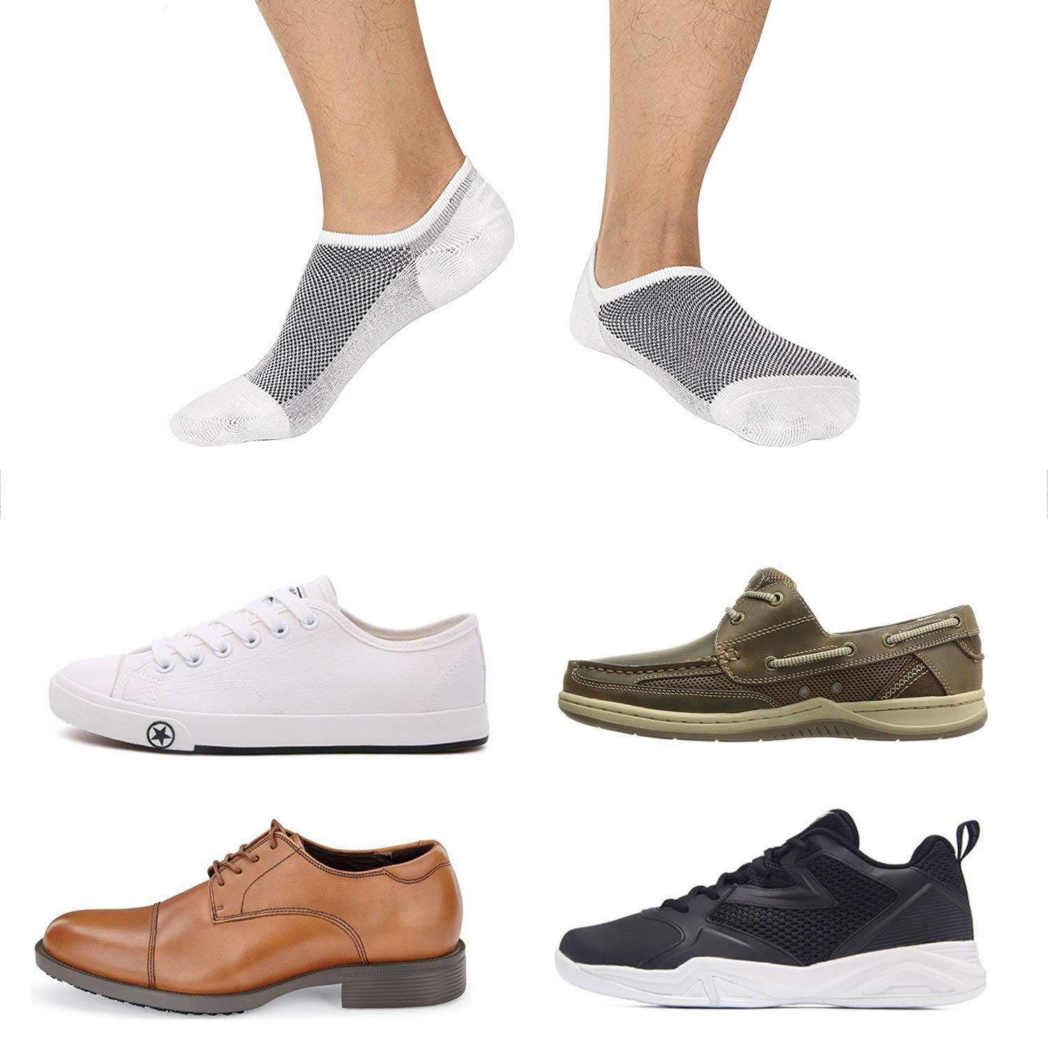 SIXDAYSOX Cotton No Show Socks for Men & Women 8 Pairs Invisible Low Cut with Non Slip Sports Ankle Socks for Trainers, Size 6-11 (8 Pairs Mix2, US Size 6-11/ EU Size 37-46)