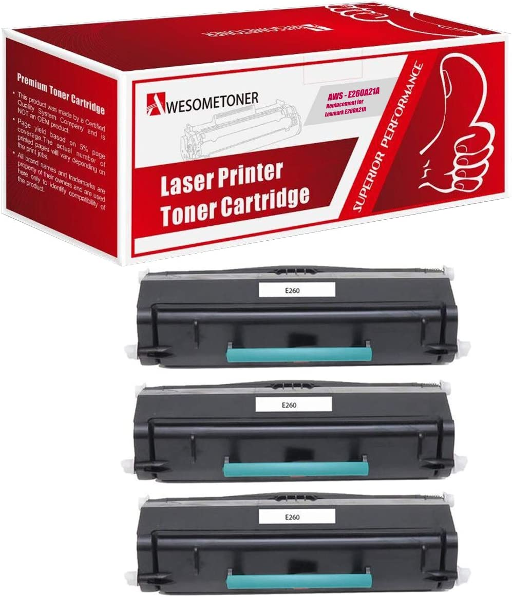 Awesometoner Remanufactured Made in USA Toner Cartridge Replacement for Lexmark E260A21A MICR use with E260 E460 Black, 3-Pack E360