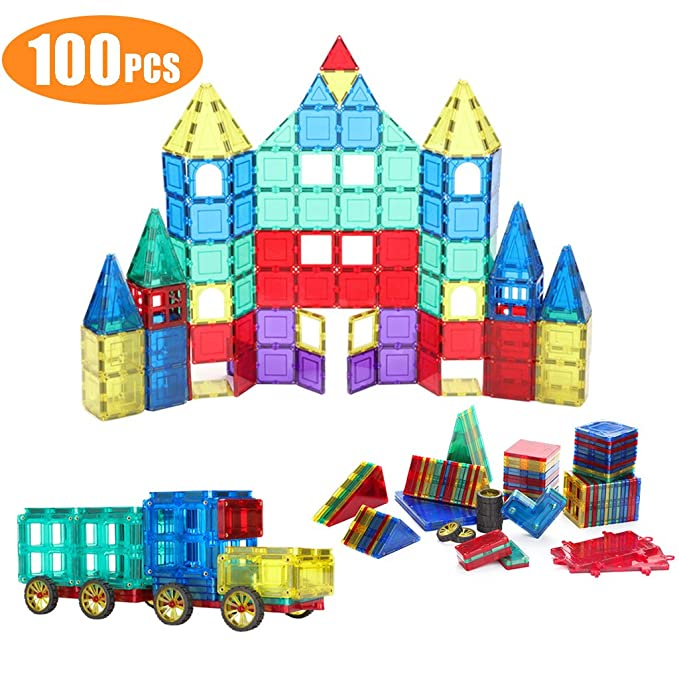 Shinehalo 100 Piece Set 100pcs Magnet Building Tiles Clear Magnetic 3D Building Blocks Construction Playboards for Kids, Strongest Magnets Guaranteed, Sturdy, Super Durable