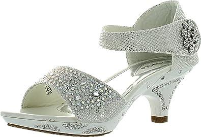 eac4f0f56555 Lucita Jan 14KM Rhinestone Heel Platform Dress Synthetic Sandals for Girls  White 1