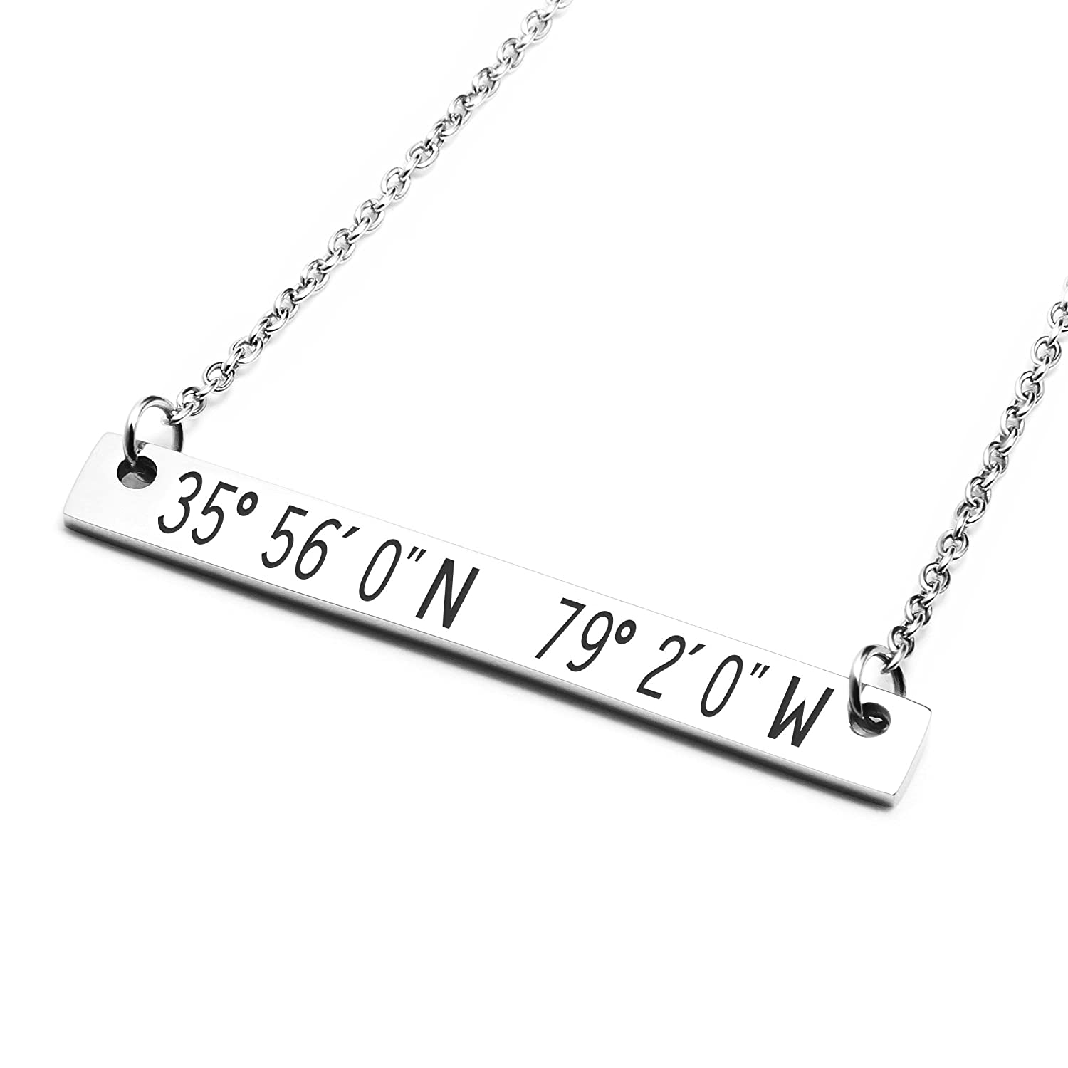 Amazon States Coordinates Bar Necklace 16x16 In Silver Personalized Birthday Gift For Girlfriend Chapel Hill NC Jewelry