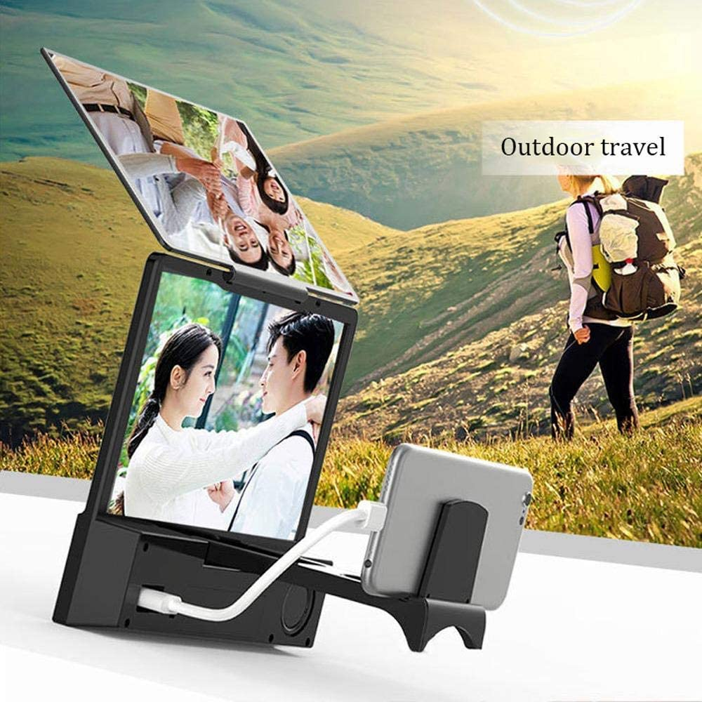 8In LTOOA Screen Magnifier with Speaker,8 Inch 3D Screen Magnifier Smartphone Magnifying Glass R with Foldable Stands Mobile Bracket Holder for All Smartphone