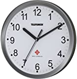 Telefunken Radio Reloj de pared, aluminio, antracita, 25x 4x 25cm, aluminio, Weißes Ziffernblatt, 25  x  4  x  25 cm