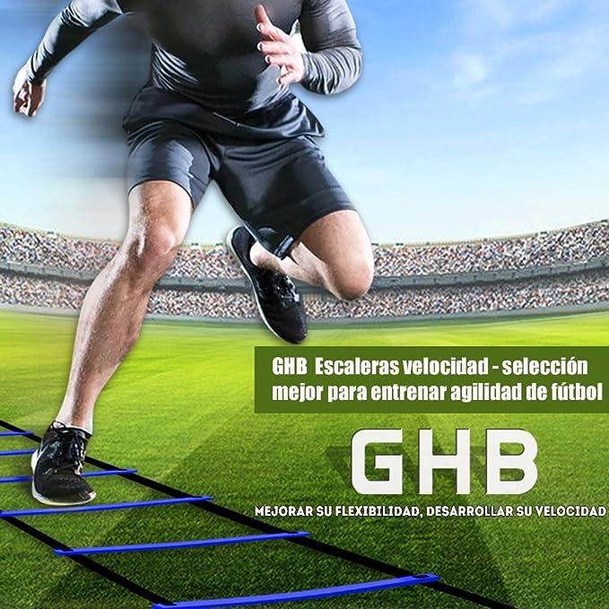 GHB Escalera de Entrenamiento para Agilidad , Fitness , Velocidad de Fútbol - 6 Metros 12 Peldaño [Color- Azul] …