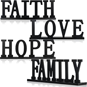 4 Pieces Love Faith Hope Family Wood Word Sign Black Wooden Cutout Letter Table Sign Rustic Letter Tabletop Decorations Freestanding Wood Sign for Home Room Fireplace Table Centerpiece Decoration