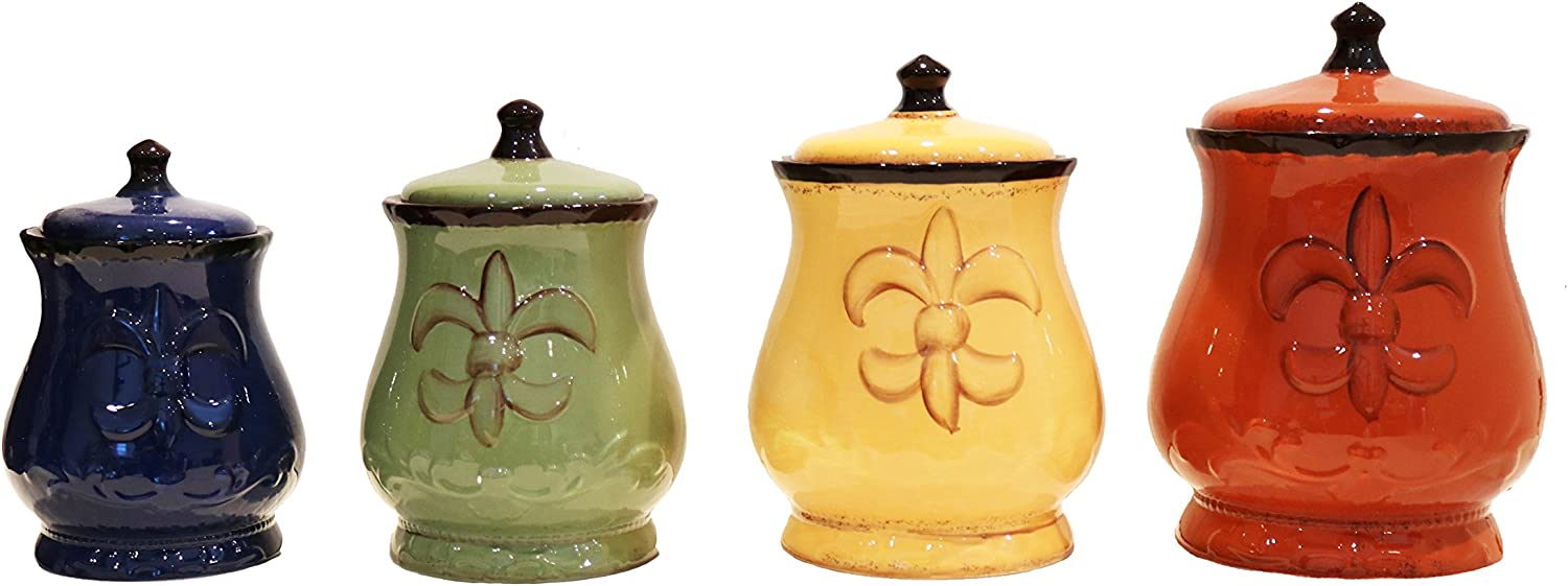 Amazon Com Tuscany Colorful Hand Painted Fleur De Lis Canisters Set Of 4 82001 By Ack Kitchen Storage And Organization Product Sets Kitchen Dining