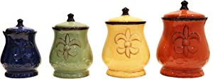 Tuscany Colorful Hand Painted Fleur De Lis Canisters, Set of 4, 82001 by ACK