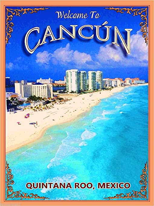 Wonderful Girl Cancun Beach Mexico Travel Tourism Vintage Poster Repro FREE S//H