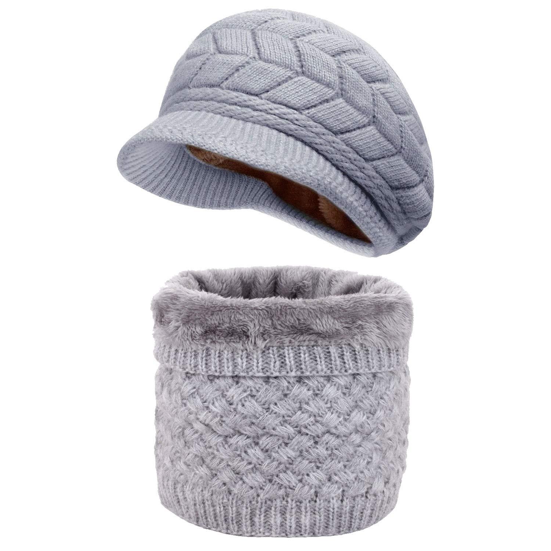 LYworld Winter Hat Sciarpa Set Donna Cappello di Maglia Inverno Beanie Hat set Berretto Donna in Maglia con Sciarpa Invernale Berretti e Sciarpe