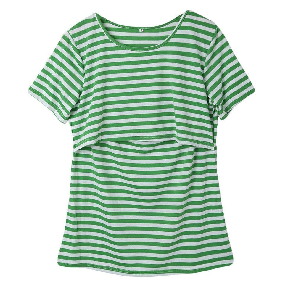 レディース 授乳シャツ ストライプ柄 パッチワーク マタニティ 授乳トップス 授乳半袖シャツ 授乳トップス B075L6ZXPV パッチワーク グリーン Small|グリーン グリーン Small, トライルーム:f985bcaf --- animacar.com