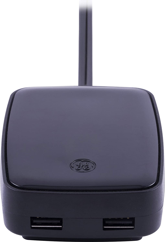 Flat Plug Long Cord Black 2 USB Ports 36066 GE Pro USB Charging Tabletop Charger 6 ft