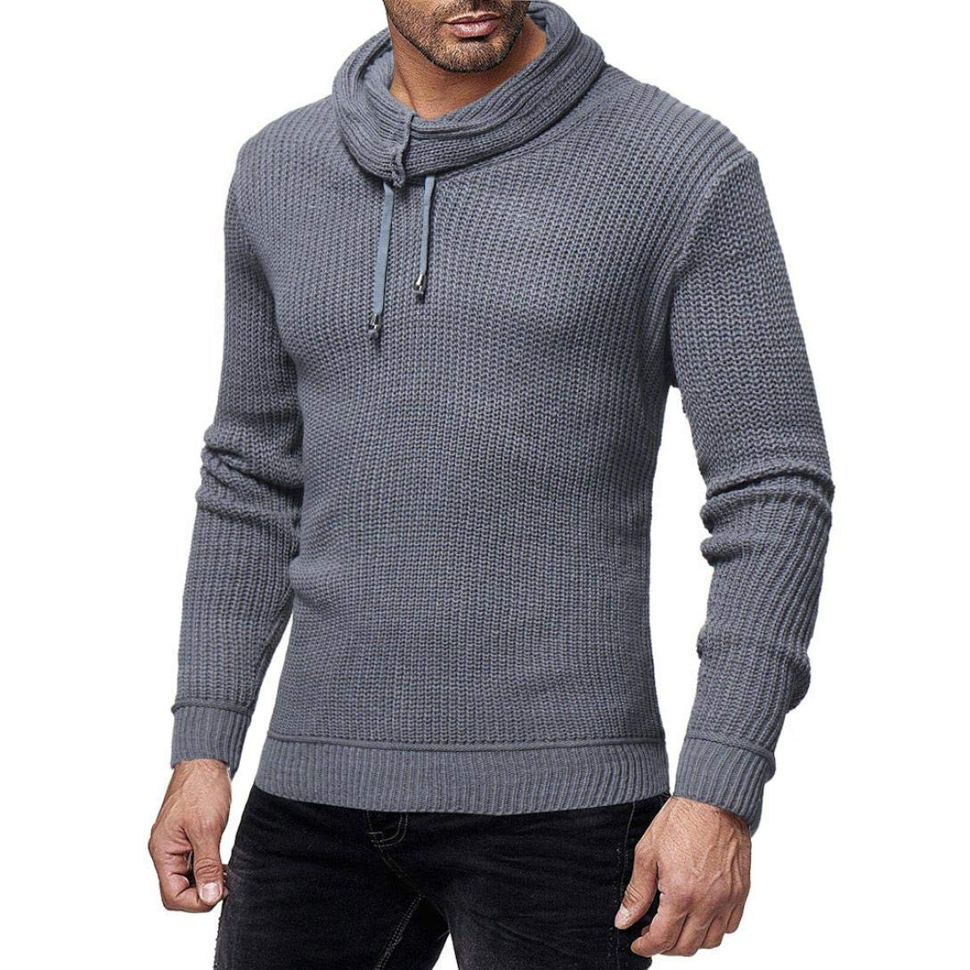 Sunhusing Fashion Mens Casual Round Neck Turtleneck Knitted Color Sweater Top Slim Pullover
