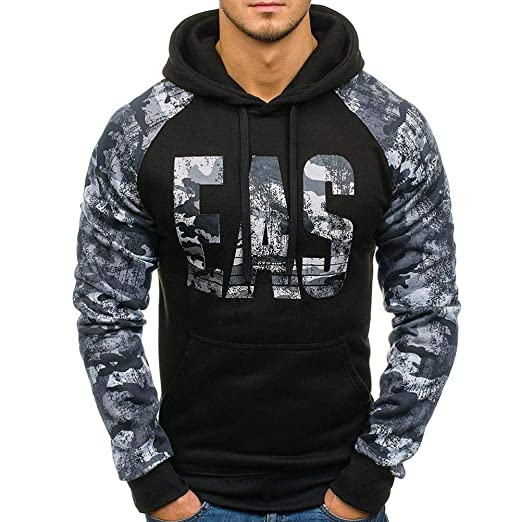 WM & MW Mens Hooded Sweatshirt Autumn EVS Printed Camouflage Casual Pullover Hoodie Outwear Tops (