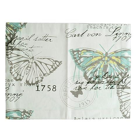 aihometm mesa de comedor mantel individual de doble capa de algodón con diseño de mariposas,