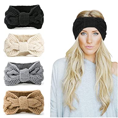 f7a663bf6dc Womens Winter Knitted Headband - Crochet Knitted Turban Headwrap Twist Hair  Band Warm Crocheted Hairband Hat