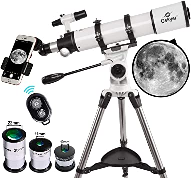 Gskyer Telescope, Telescopes for Adults, 600x90mm AZ Astronomical Refractor Telescope,Telescope for Kids,Telescopes for Adults Astronomy, German Technology Scope