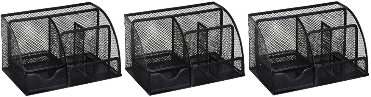 Greenco Mesh Office Supplies Desk Organizer Caddy, 6 Compartments, Black (3 Pack)