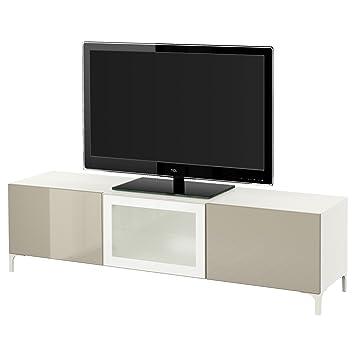 Ikea Besta Tv Bank Mit Schubladen Und Tur Weiss Selsviken Hochglanz