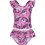 MetCuento Girls Unicorn Two-Pieces Bikini Set Swimwear Swimsuit Kids Rainbow Tankini Beach Bathing Suit 2-8 Years