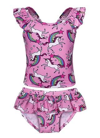 76192d35e0 Jurebecia Girls Rainbow Unicorn Two Piece Swimwear Sleeveless Colorful  Swimsuit Tankini Swimming Costume Bathing Suit 2