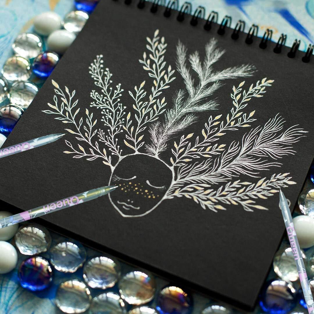 illustrazione carta nera 9PCS Archival Ink schizzi penne per artisti pittura Rocks creazione di biglietti 0.8/mm Line Drawing Pen Punta fine bianco penna gel set
