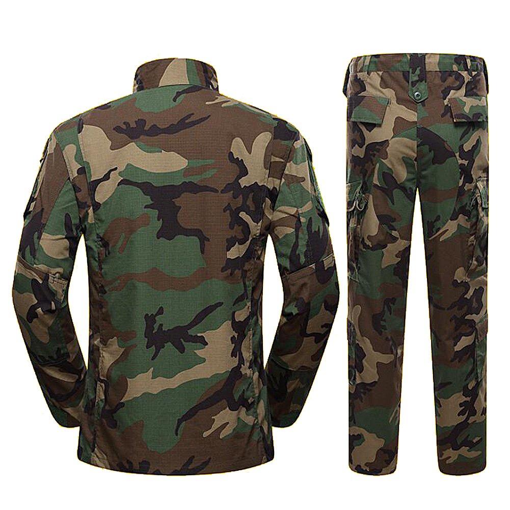 H World Shopping Military Tactical Mens Hunting Combat BDU Uniform Suit Shirt & Pants with Belt Woodland Camo