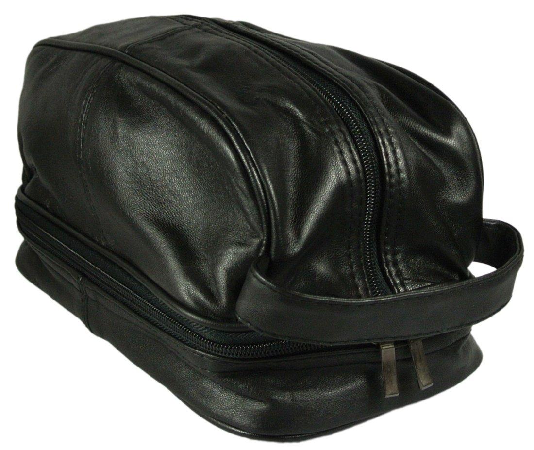 Texcyngoods Mens Calfskin Leather Shaving Toiletry Bag Black Dopp Kit