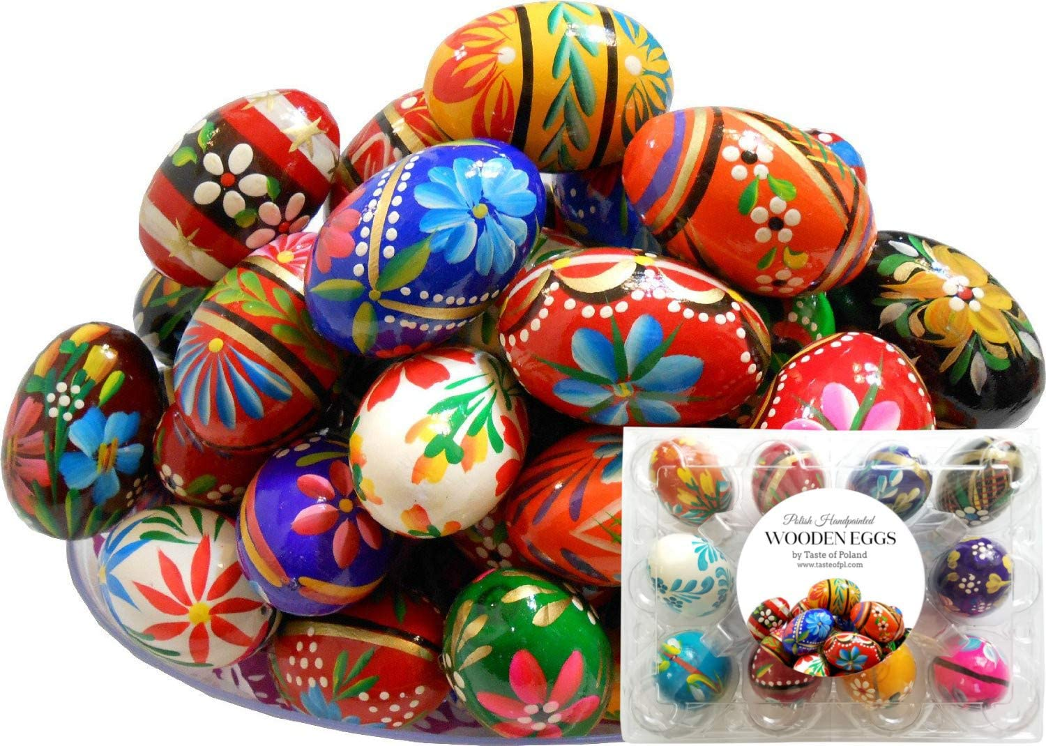 Polish Easter Handpainted Wooden Eggs (Pisanki), Set of 12 in Protective Box