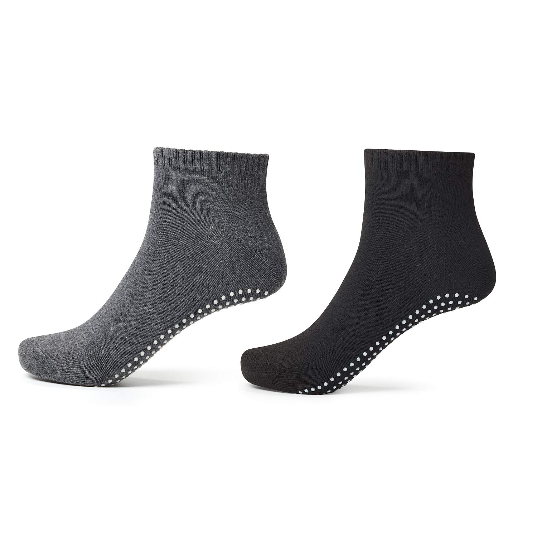 Anti Slip Socks Non Skid Cotton Socks,4 Pairs Unisex Grip Socks for Yoga Home Workout Barre Pilates Pregnancy Hospital Maternity Adults Men Women in Black and Grey