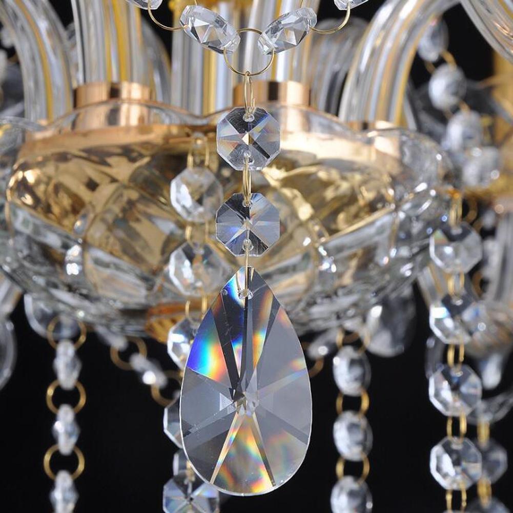 Wei-d 3 Heads Gold Luxury European Crystal Chandelier Hotel Crystal Lamp 110V Crystal Chandelier , as picture by WEIWEI (Image #2)