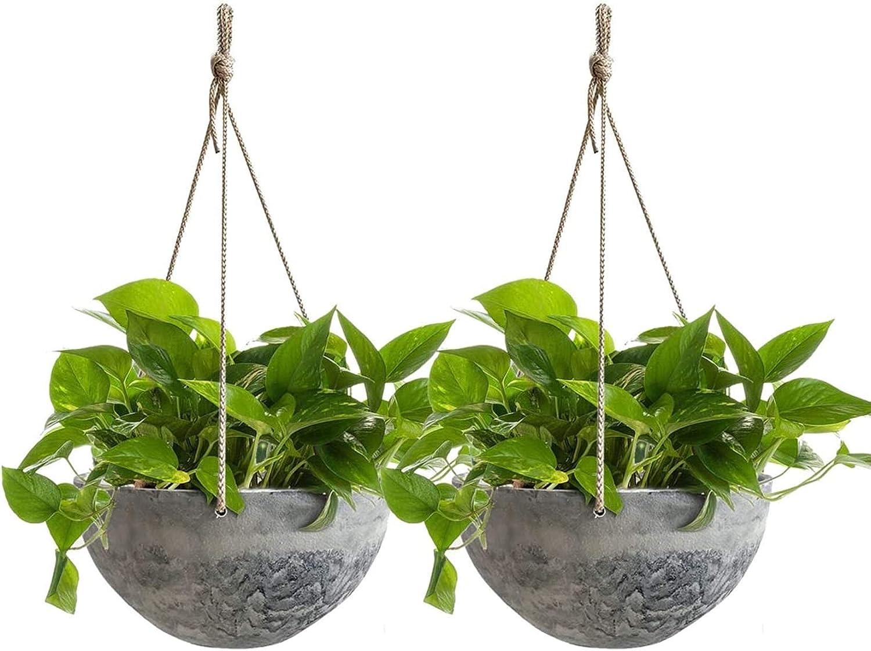 Amazon Com Hanging Planter Flower Plant Pots 10 Inch Indoor Outdoor Balcony Patio Hanging Basket Set Of 2 Marble Pattern Garden Outdoor