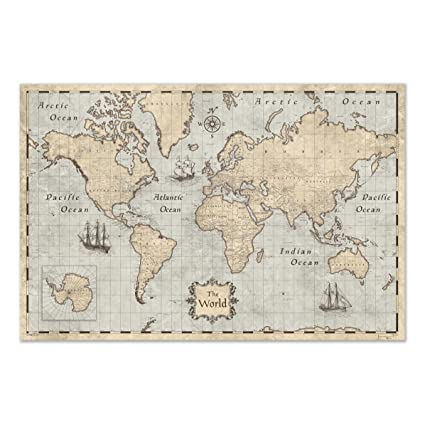 Beautiful Map Of The World.Amazon Com Maps Of The World Poster By Conquest Maps Beautiful For
