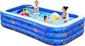 Inflatable Swimming Pool, Kiddie Pool, Family Lounge Pool for Kids, Adult, Infant, Toddlers, 120
