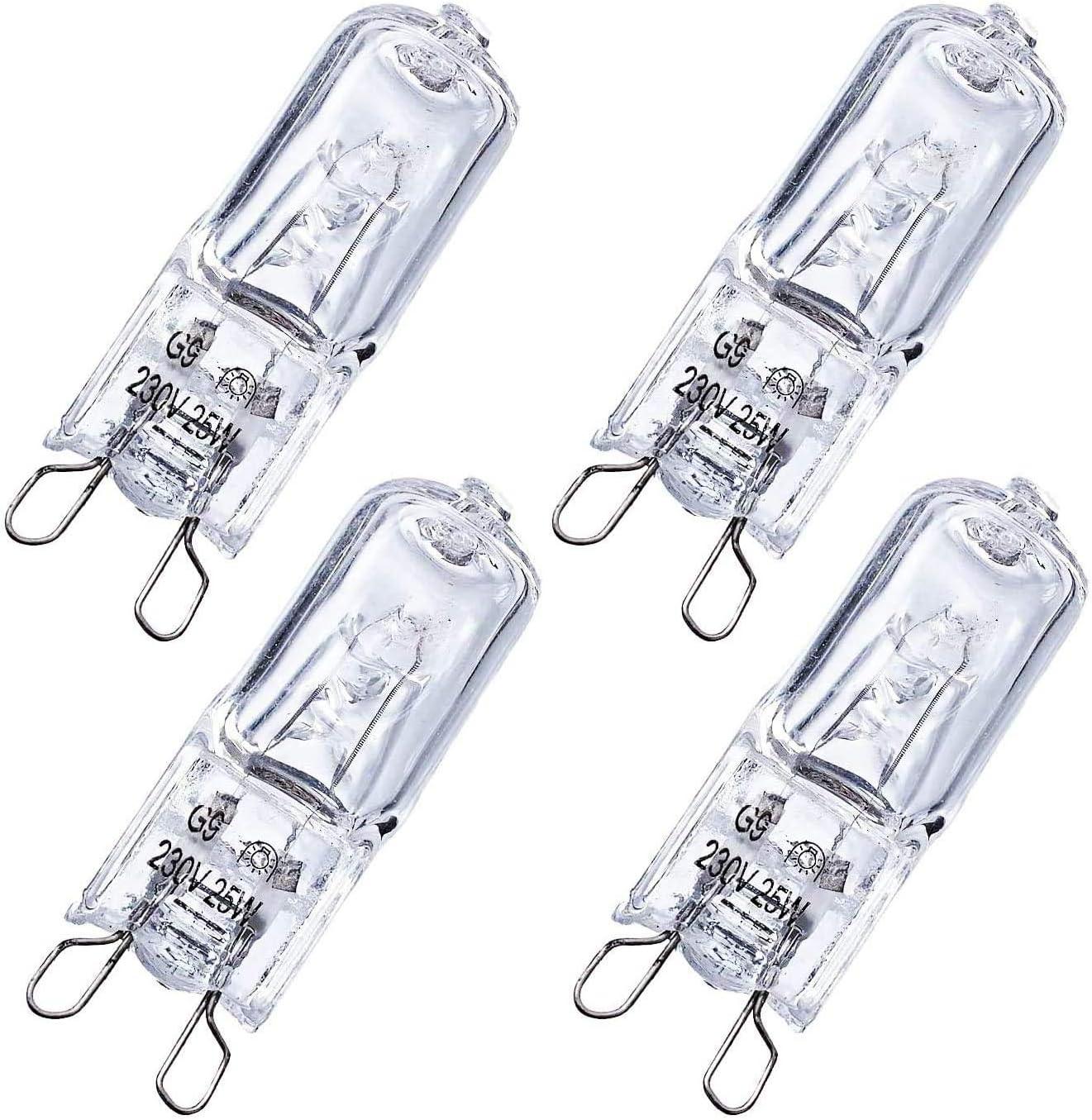 Bombillas Halógenas G9 25W 230V para Horno y Microondas, Bombilla Blanco Cálido Poweka 2700K Tolerante al Calor 300 ° (4 Piezas)