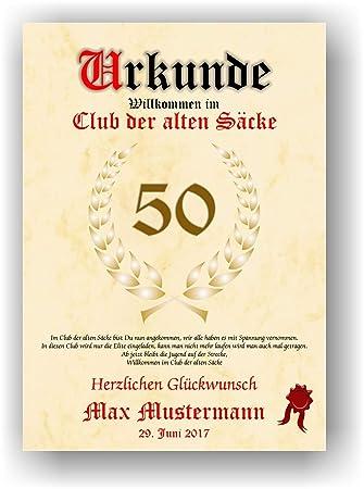 Urkunde Alter Sack Willkommen Im Club Der Alten Sacke