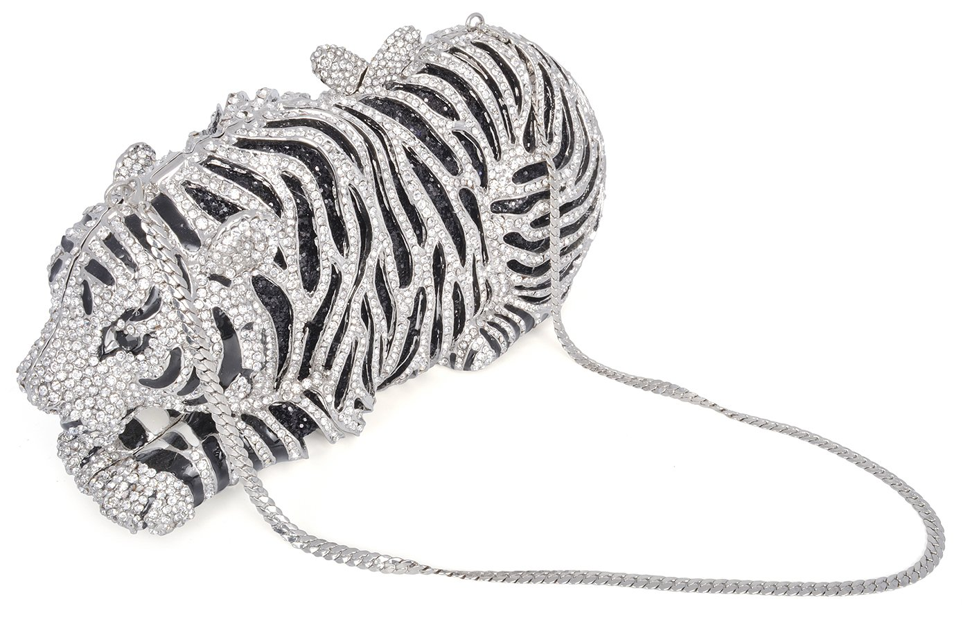 mossmon Luxury Crystal Clutches For Women Tiger Evening Bag (Silver) by Mossmon (Image #2)