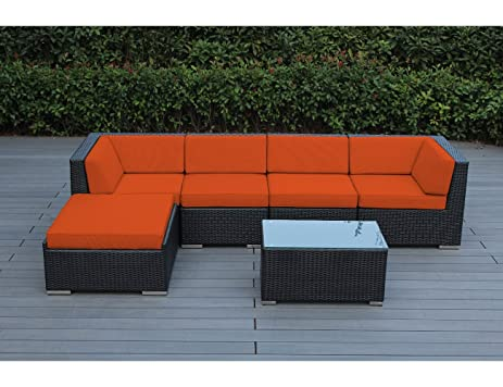 Ohana 6 Piece Outdoor Wicker Patio Furniture Sectional Conversation Set  With Weather Resistant Cushions,