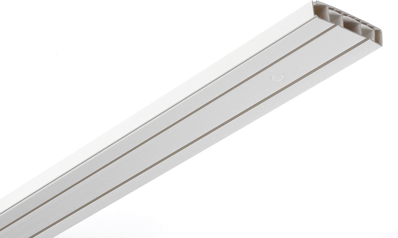Gardinia - Cortina rieles, plástico, de 2 pistas, color blanco, 120 x 3.75 x 1.5 cm, paquete de 3 unidades