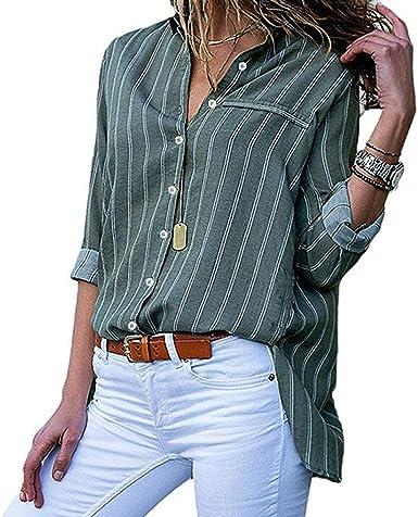 Honghu Mujer Camisa de Manga Larga con Cuello en V Cuello Suelto Camisa con Botones Casual Raya Pullover Blusa Túnica cómoda Top básico (Verde, L): Amazon.es: Ropa y accesorios