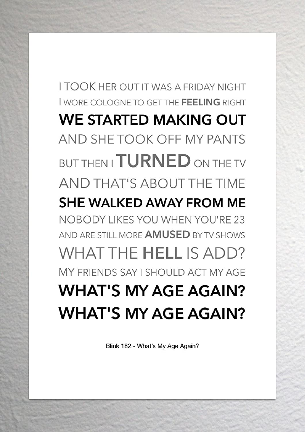 Blink 182 -What\'s My Age Again? - Funky Lyric Art Print - A4 Size ...