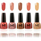 MI Fashion® Ultimate Nude Nail Polish New Shades Combo in 5 Unique Shades - Peach, Candy Cotton, Dark Nude, Rustic Tan, Flirty Nude