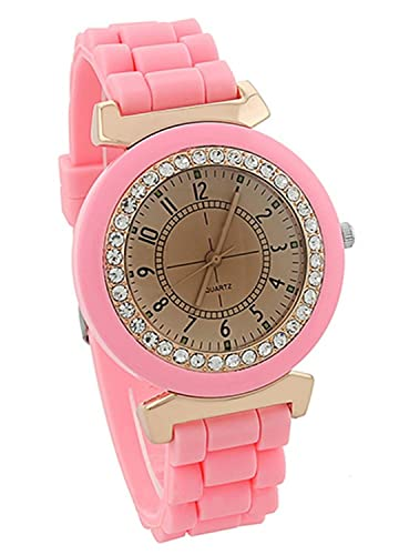 Reloj - Geneva Silicona Piedra de Cristal Cuarzo Reloj de pulsera de mujer (Rosado)