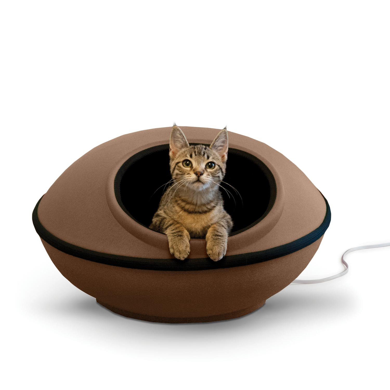 K&H Pet Products Thermo-Mod Dream Pod Heated Pet Bed Tan Black 22  4W