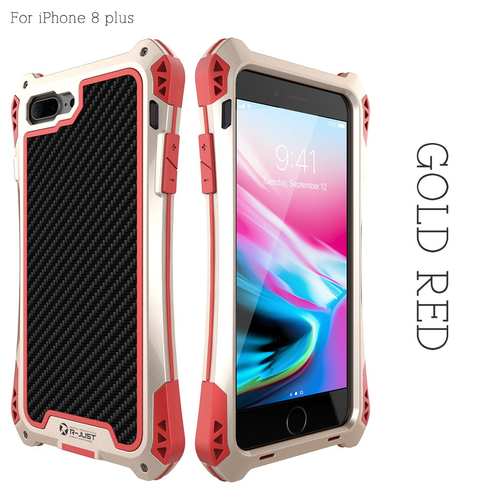 the latest 19c1e f1725 R-JUST Case for iPhone 8 Plus Extreme Aluminum Premium  Shockproof/Dustproof/Water-resistant Cell Phone Casing Cover Protection  System with Durable ...