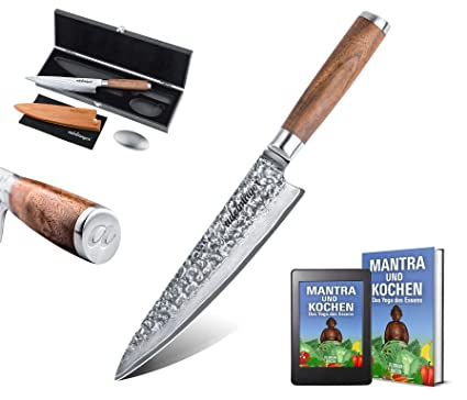 adelmayer® - Cuchillo profesional damasco de 20cm con hoja de acero damasco japonés extremadamente afilado con mango de nogal y paño de gamuza