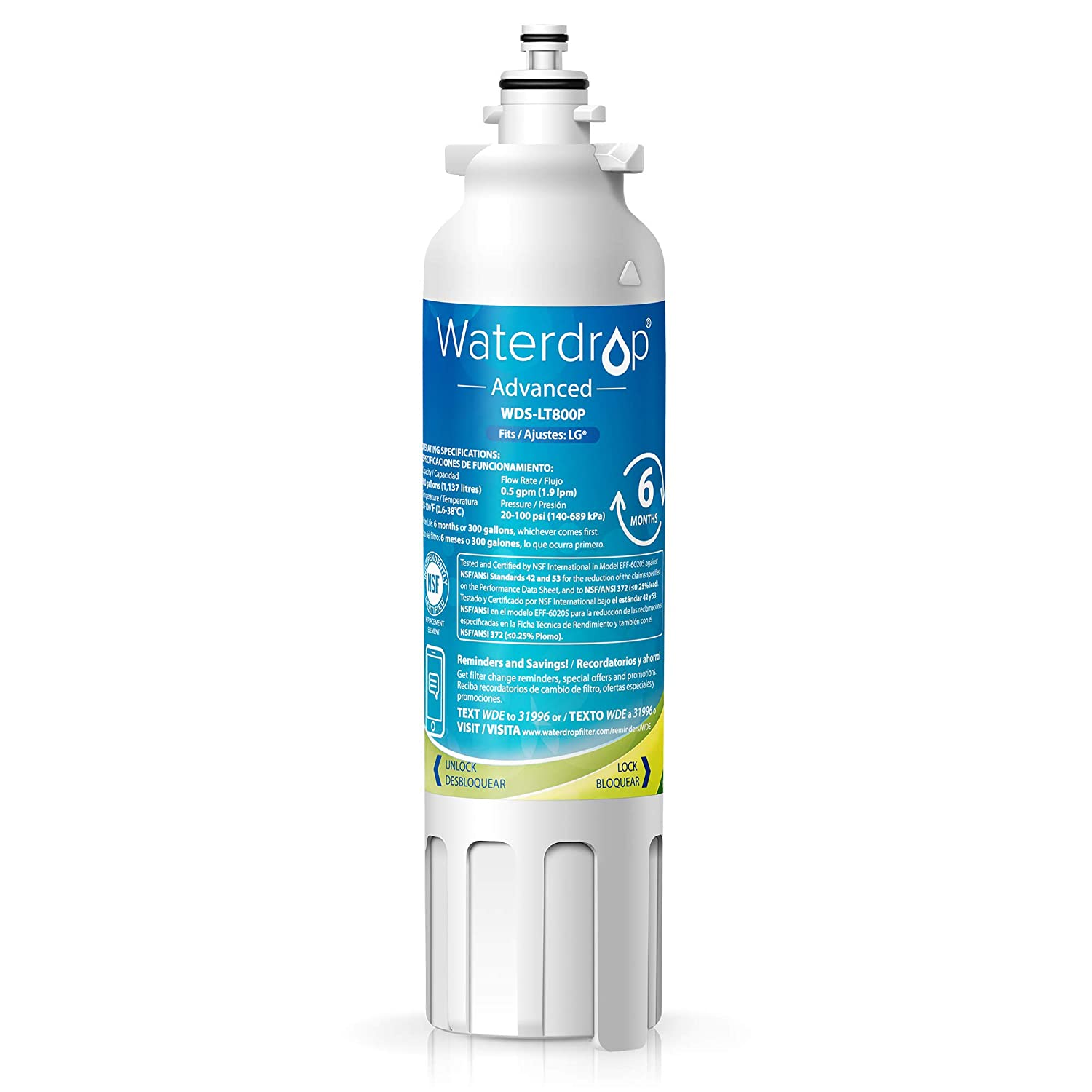 Waterdrop ADQ73613401 NSF 53&42 Certified Refrigerator Water Filter, Compatible with LG LT800P, Kenmore 9490, LSXS26326S, LMXC23746S, 46-9490, 469490, ADQ73613402, LMXC23746D, LSXS26366S