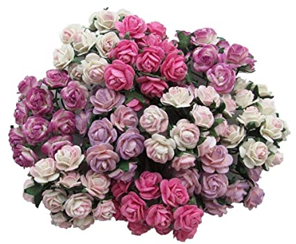 Buy 100 pcs Mini Rose Mixed Pink Color Mulberry Paper Flower