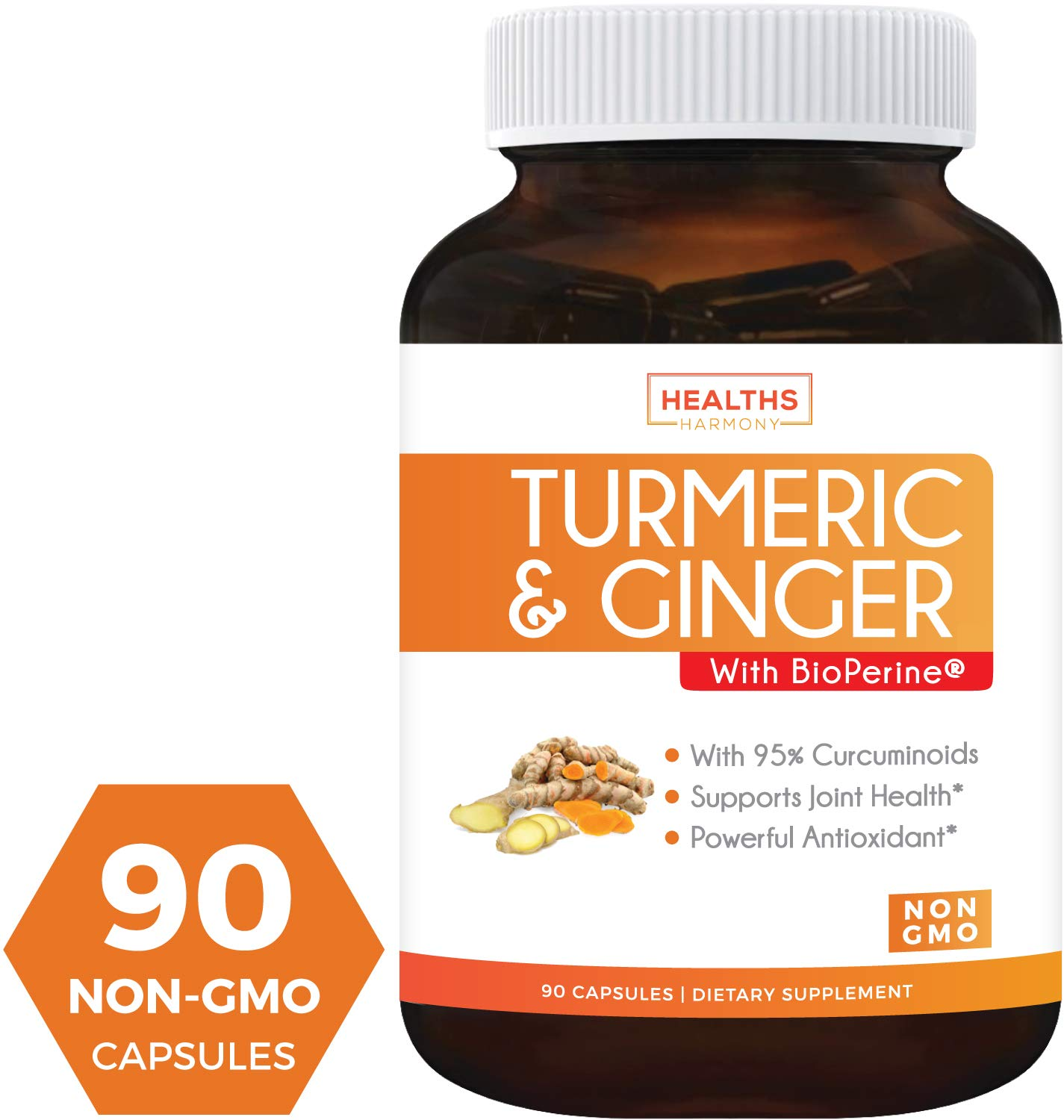 Turmeric Curcumin and Ginger, 95% Cucurminiods & Bioperine (Non-GMO & Vegan) for Joint Support - and Better Absorption with Black Pepper Extract - 90 Capsules Supplement - No Pills